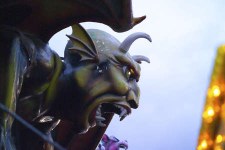 coney: Devil Sculpture part of Dantes Inferno ride at Coney Island in Brooklyn New York.