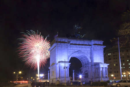 Soldiers and Sailors Arch at Grand Army Plaza near Prospect Park, Brooklyn, New York during New Years Eve yearly fireworks display. photo