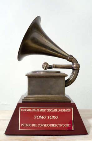BRONX, NEW YORK - DECEMBER 23: Close up of Latin Grammy awarded to Puerto Rican musician Yomo Toro for his work playing the cuatro.   Editorial