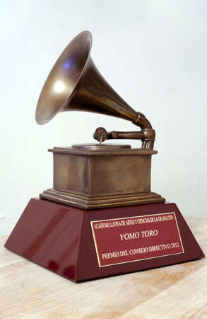 BRONX, NEW YORK - DECEMBER 23: Close up of Latin Grammy awarded to Puerto Rican musician Yomo Toro for his work playing the cuatro.
