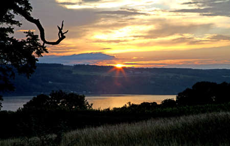 seneca: Sunset over Seneca lake as taken from a farm winery