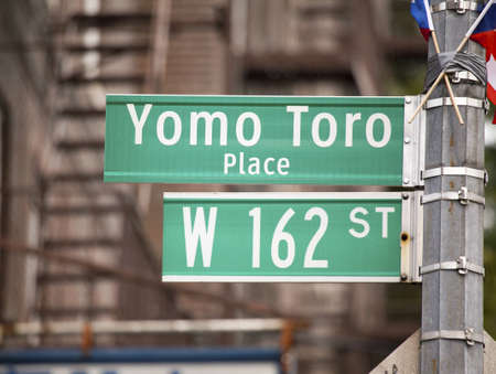 BRONX, NEW YORK - JULY 27  City sign erected in honor of legendary cuatro player Yomo Toro  Taken day of it
