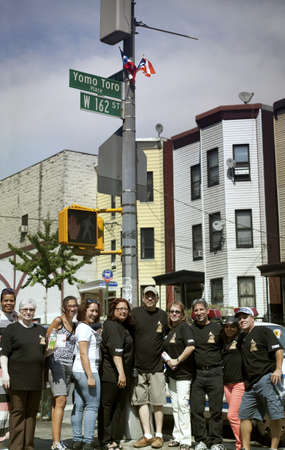 BRONX, NEW YORK - JULY 27  Family and friends of legendary cuatro player Yomo Toro gather to celebrate street dedication in his honor   Taken July 27, 2013 at Yomo Toro Place, Ogden avenue, in New York