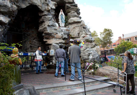 BRONX, NEW YORK - SEPTEMBER 20  People visit and collect water from French replica grotto   Taken September 20, 2013 at Our Lady of Lourdes Grotto, St  Lucy