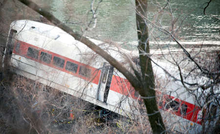 BRONX, NEW YORK - DECEMBER 1: A Metro North train derails killing and injuring people near Spuyten Duyvil Station.  Taken December 1, 2013, in the Bronx,  New York. Editorial