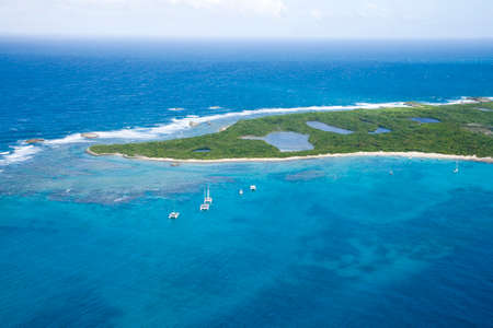 Aerial view of Icacos Island North of Puerto Rico.