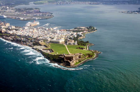 Aerial view of El Morro in Old San Juan Puerto Rico.   Stock Photo