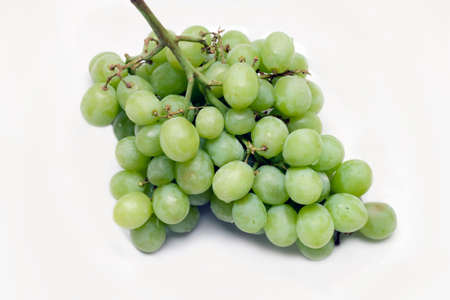 seedless: Green seedless grapes against a white background.