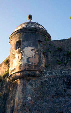 sentry: Ancient Sentry Box located in Old San Juan Puerto Rico. Stock Photo