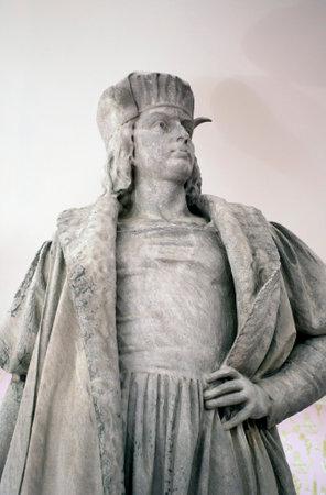 NEW YORK, NEW YORK - NOVEMBER 6: Close up of Christopher Columbus statue during Tatzu Nishi art project.   Taken November 6, 2012  in New York City. Editorial
