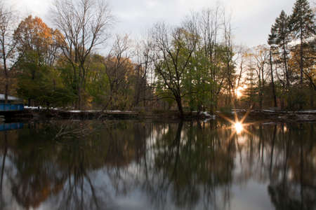 bronx county: Van Cortlandt park with river during sunset in the county of the Bronx, New York.