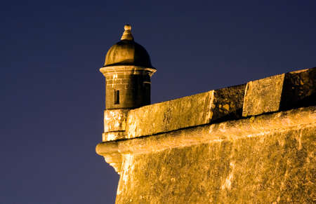 A Spanish Sentinel at El Morro in Old San Juan, Puerto Rico. Stock Photo