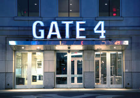 bronx county: BRONX, NEW YORK - JUNE 20: Gate entrance to Yankee Stadium at twilight.   Taken June 20, 2014 in the County of the Bronx, NY. Editorial