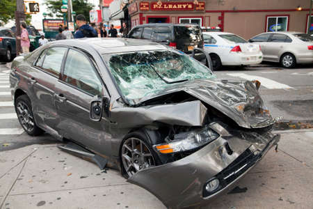 QUEENS, NEW YORK - JULY 2: Car wreck on Vernon Boulevard   Taken July 2, 2014 in Queens, NY.