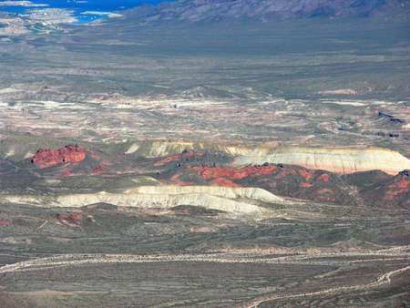 nevada: View by air of the rocky terrain of Nevada near Lake Mead in the USA.