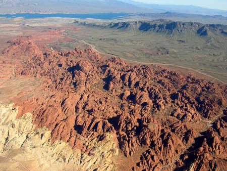 View by air of the rocky terrain of Nevada near Lake Meade in the USA. Stock Photo