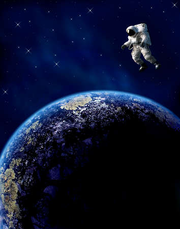 to gravity: An astronaut floats in space over a planet.