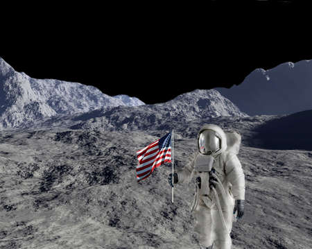 spacesuit: American astronaut against lunar type background.  Background was digitally created.