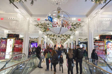 macys: NEW YORK, NEW YORK, USA - DECEMBER 10: Shoppers visit Macys department store in Herald Square and 34th street.  Taken December 10, 2015 in NY. Editorial