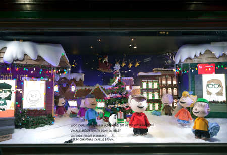macys: NEW YORK, NEW YORK, USA - DECEMBER 10: A Macys window display for Christmas showing Charlie Brown and the peanuts gang.  Taken December 10, 2015 in NY. Editorial