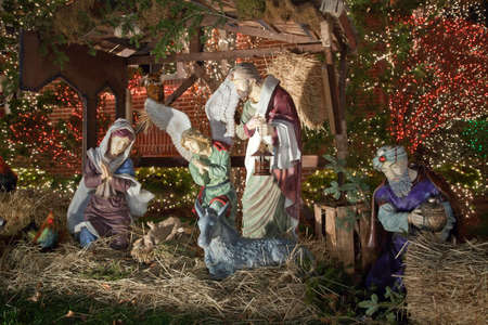 83rd: BROOKLYN, NEW YORK, USA - DECEMBER 19: A Nativity scene in front of a Christmas decorated house in Dyker Heights between 11th and 12th avenue and 83rd street.  Taken December 19, 2015 in New York.
