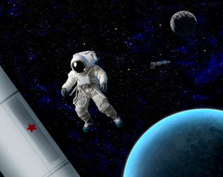 zero gravity: An astronaut floating in space near planet and ship.