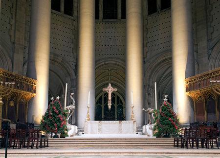 high altar: NEW YORK, NEW YORK, USA - DECEMBER 22: High altar at Christmas time inside Saint John Divine Church. Taken December 22, 2015 in New York. Editorial