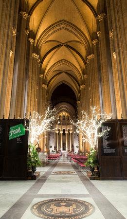 house of god: NEW YORK, NEW YORK, USA - DECEMBER 22: Interior Saint John Divine Church at Christmas time. Taken December 22, 2015 in New York.