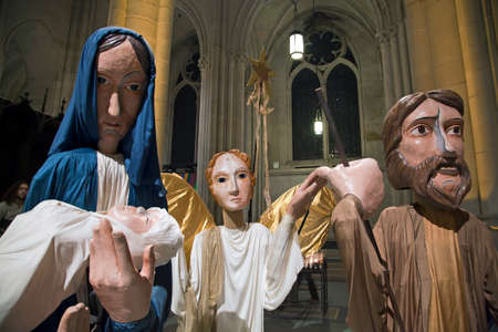 angel gabriel: NEW YORK, NEW YORK, USA - DECEMBER 22: Puppets used for Christmas mass inside Saint John Divine Church. Taken December 22, 2015 in New York.