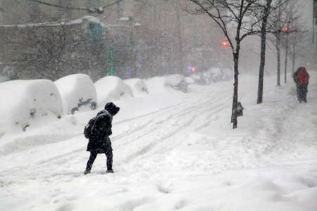 january: BRONX, NEW YORK - JANUARY 23: Woman crosses street during blizzard snow storm Jonas.  Taken January 23, 2016, in the Bronx,  New York.