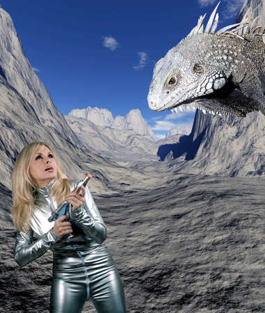 catsuit: Caucasian woman in silver catsuit pointing weapon at giant reptile against digital background.