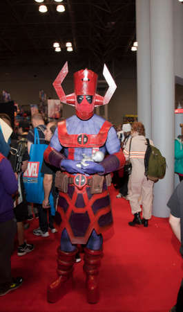 NEW YORK, NEW YORK - OCTOBER 9: Person wearing Galactus costume at NY Comic Con at Jacob K. Javits convention center.  Taken October 9, 2016 in  New  York.