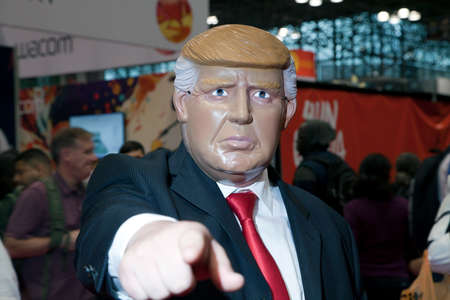 NEW YORK, NEW YORK - OCTOBER 9: Man wearing Donald Trump costume at NY Comic Con at Jacob K. Javits convention center.  Taken October 9, 2016 in  New  York.