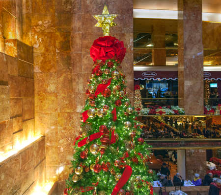 NEW YORK, NEW YORK - DECEMBER 19: Christmas tree inside Trump Tower on 56th street and 5th avenue in Manhattan.  Taken December 19, 2016 in New York City.