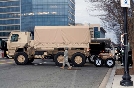 district of columbia: WASHINGTON, DC - JANUARY 20: 74th National Guard Troop Command Vehicle parked for Inauguration of Donald Trump.  Taken January 20, 2017 in District of Columbia. Editorial
