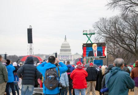 WASHINGTON, DC - JANUARY 20:  Inauguration of Donald Trump.  Taken January 20, 2017 in District of Columbia. Editoriali