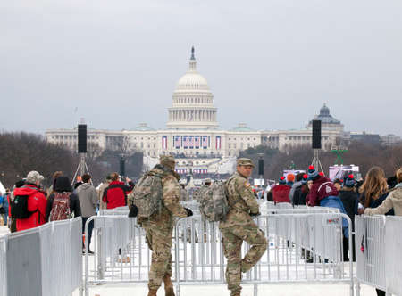 district of columbia: WASHINGTON, DC - JANUARY 20: National guard men on duty during Inauguration of Donald Trump.  Taken January 20, 2017 in District of Columbia.