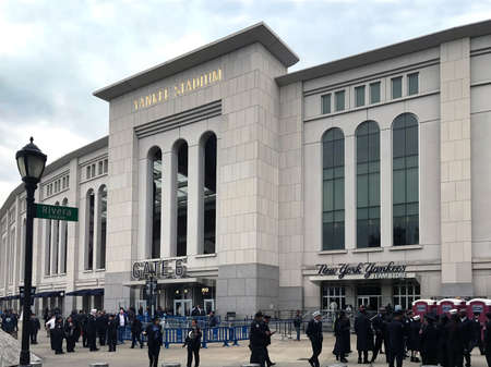 BRONX, NEW YORK - MARCH 28:  People gather outside for FDNY & NYPD game at Yankee Stadium hosted by NYCFC.  Taken March 28, 2017 in New York. Editorial
