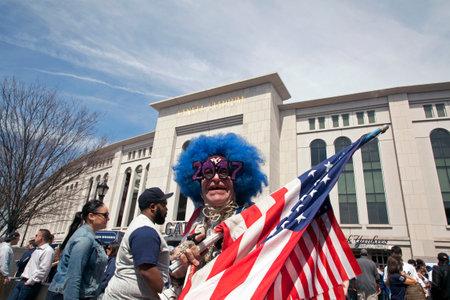 BRONX, NEW YORK, USA - APRIL 10: Flag holding Lenny Love on opening day at Yankee Stadium.  Taken April 10, 2017 in New York.