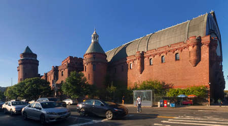 armory: BRONX, NEW YORK, USA - OCTOBER 3: Panoramic view of Kingsbridge Armory also known as eighth Regiment Armory.  Taken October 3, 2017 in New York.