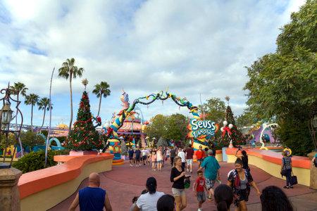 ORLANSO, FLORIDA, USA - NOVEMBER 3: People at Universals Studios Islands of Adventure Seuss Landing.  Taken November 3, 2017 in Florida. Editorial