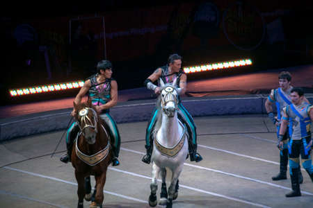 BROOKLYN, NEW YORK - FEBRUARY 25: Horse riders perform during Ringling Bros Barnum Bailey Circus at Barclays Center.  Taken February 25, 2017 in New York. 에디토리얼