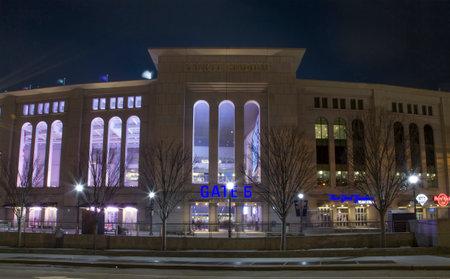 BRONX, NEW YORK - APRIL 7: Night view of Yankee Stadium during game.  Taken April 7, 2018 in New York.