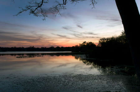 Inside Secret Lake Park at sunset located on Triplet lake drive,  Casselberry Florida. Stock Photo