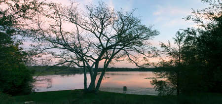 Secret Lake Park at sunset located on Triplet lake drive,  Casselberry Florida. Stock Photo