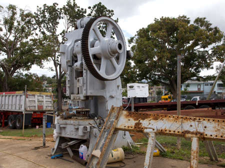 CERRO GOLDO, BAYAMONPUERTO RICO - February 26, 2019: No longer used E.W. Bliss Company machine. Company designed  metal press and stamping machines that made parts for automobiles and military.