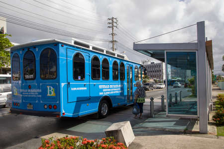BAYAMON/PUERTO RICO - February 26, 2019: Trolley car operates through center of town.