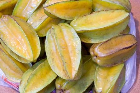 Carambola or star fruit on table grown in Puerto Rico.