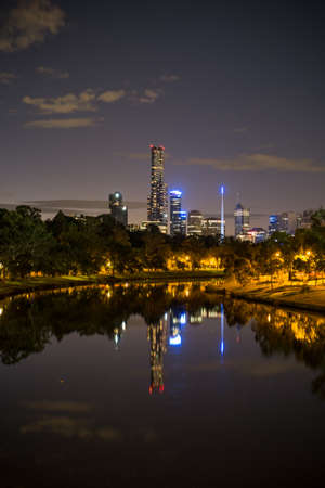 melbourne city view from yarra river photo