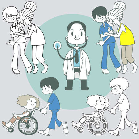 Physiotherapy rehabilitation sessions for people with cardiovascular geriatric and neurological disorders flat icons collection.